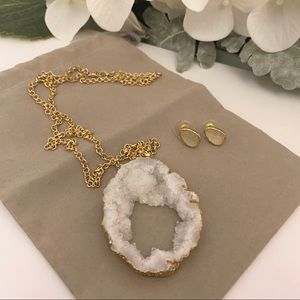 NWOT White Druzy Pendant Necklace & Earrings
